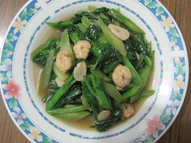 Chinese Vegetables Recipe-Sauteing Choy Sum with Prawn ...